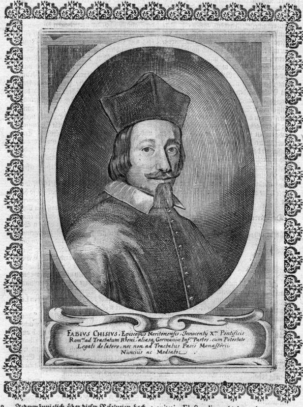 Fabius Chisius - Alexander VII Alessandro Papa Papst Portrait Kupferstich antique print