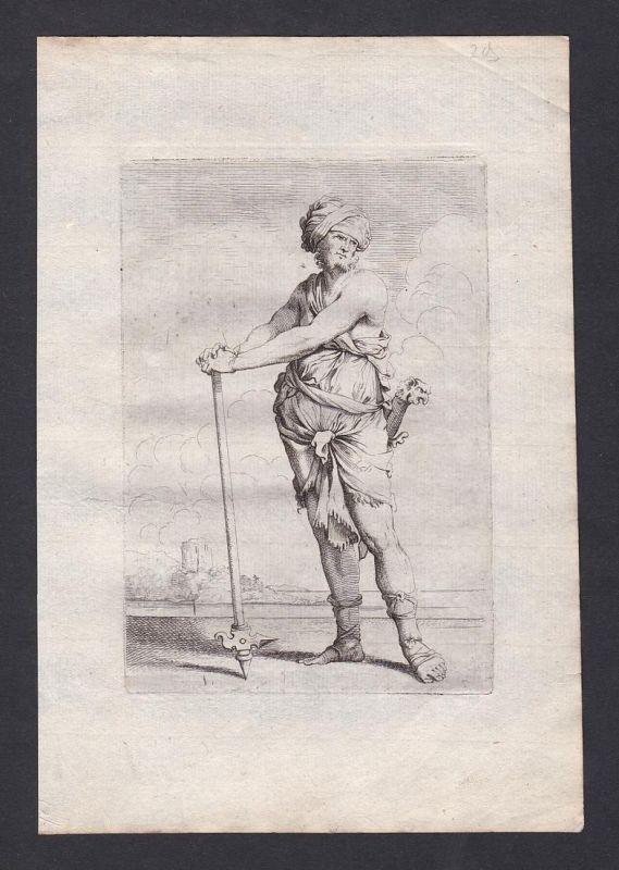 Seltene Original-Radierung von einem Mann mit seiner Waffe / rare original etching of a man - Kupferstich