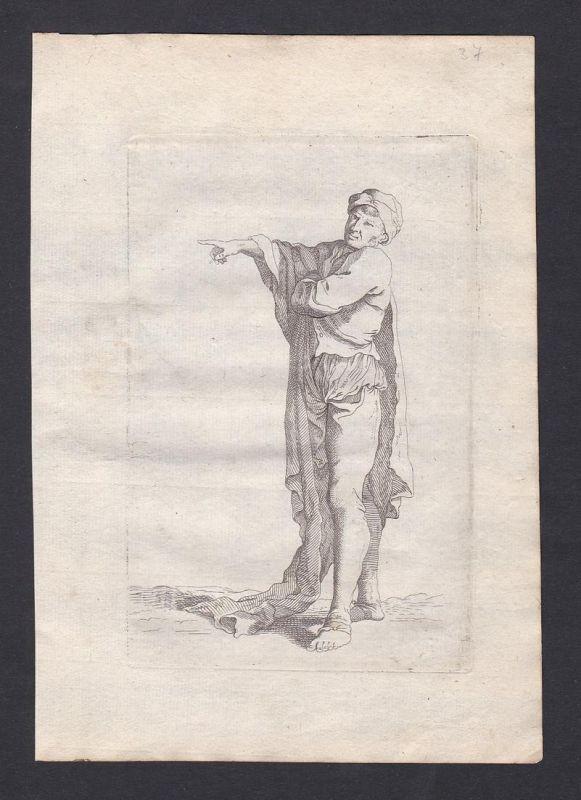 Seltene Original-Radierung von einem Mann mit Umhang / rare original etching of a man - Kupferstich
