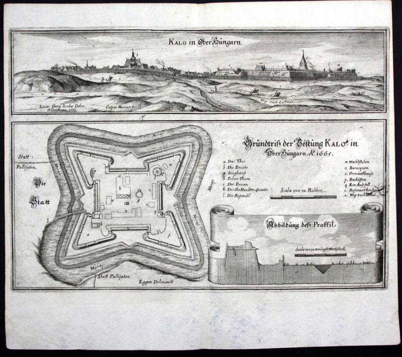 Kalo in Ober Hungarn - Nagykallo Hungary Ungarn view plan Ansicht Kupferstich antique print