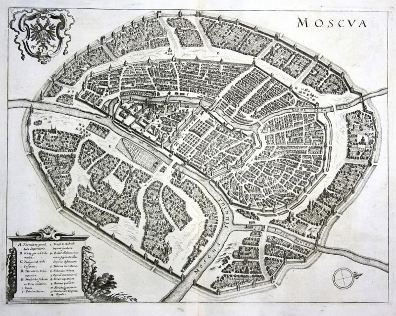 Moscua - Moskau Moscow Moskwa view plan Russia Russland Ansicht Kupferstich antique print