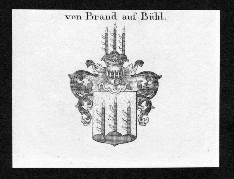 Von Brand auf Bühl - Brandt Brand Bühl Buehl Wappen Adel coat of arms Kupferstich antique print heraldry Heral
