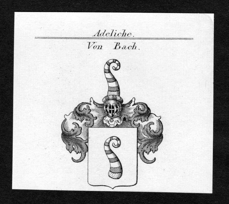 Von Bach - Bach Wappen Adel coat of arms Kupferstich antique print heraldry Heraldik