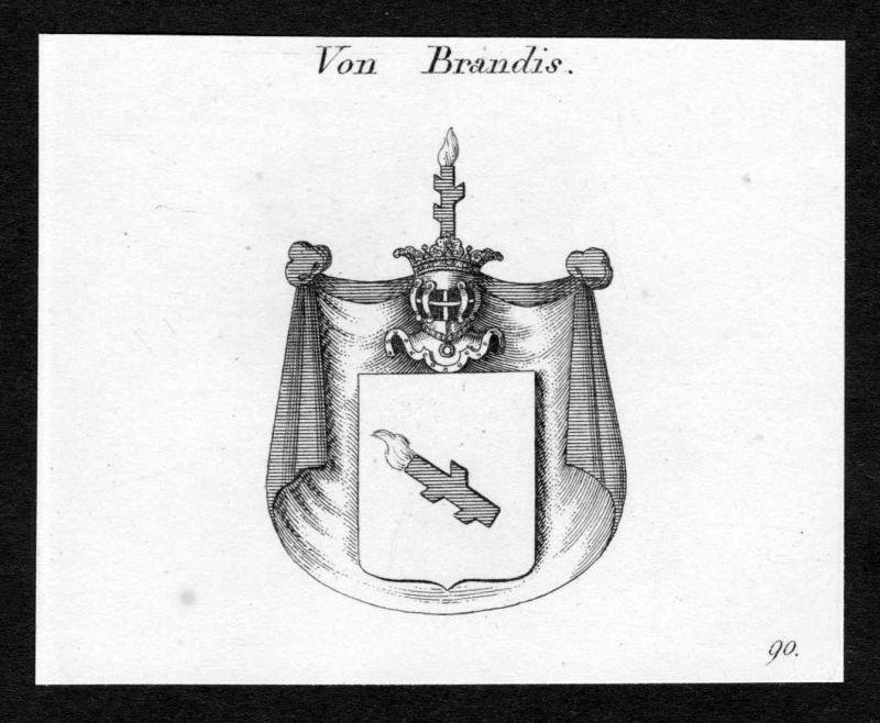 Von Brandis - Brandis Wappen Adel coat of arms Kupferstich antique print heraldry Heraldik