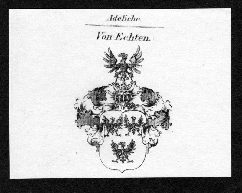 Von Echten - Echten Wappen Adel coat of arms Kupferstich antique print heraldry Heraldik