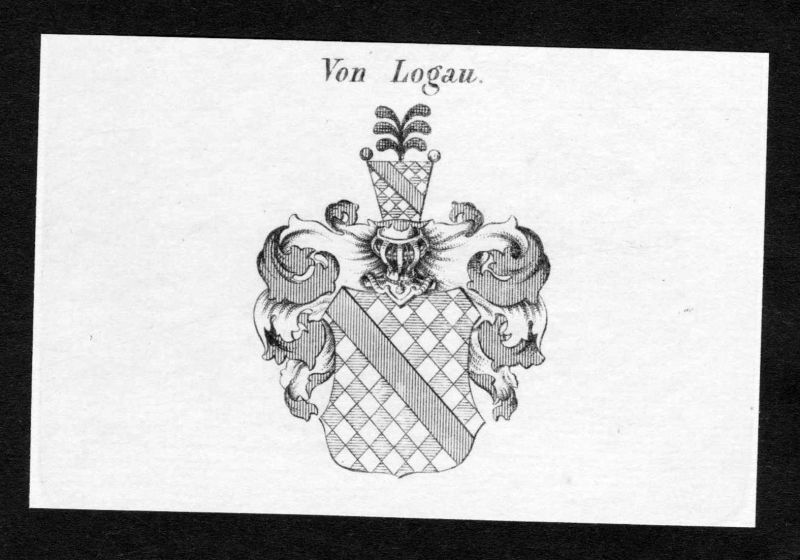 Von Logau - Logau Wappen Adel coat of arms Kupferstich antique print heraldry Heraldik