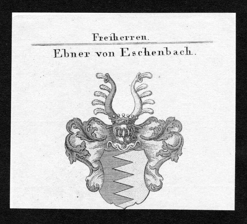 Ebner von Eschenbach - Ebner von Eschenbach Wappen Adel coat of arms Kupferstich antique print heraldry Herald