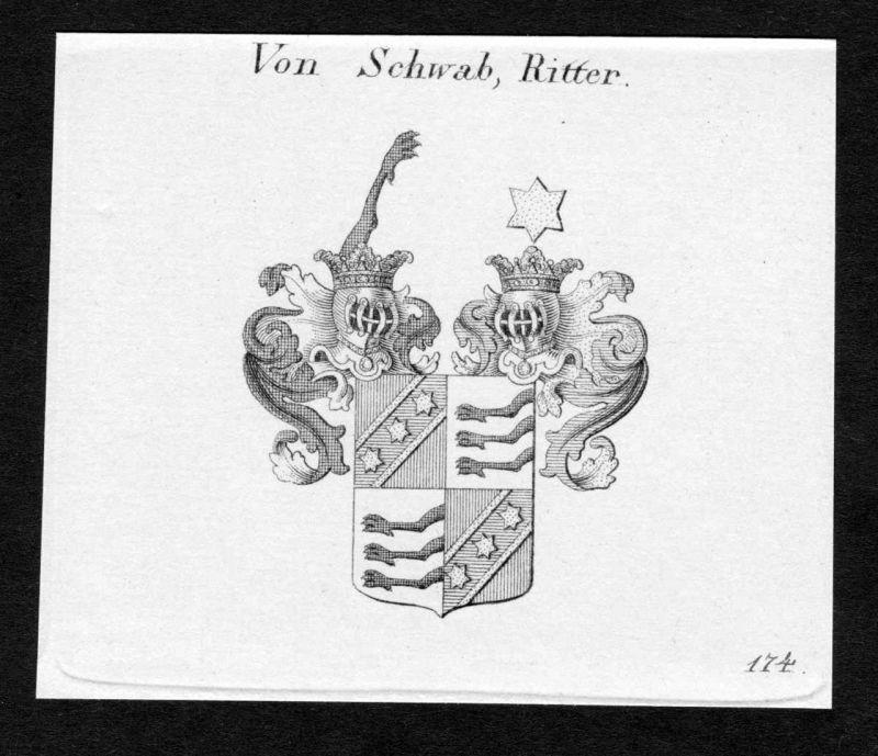 Von Schwab, Ritter - Schwab Wappen Adel coat of arms Kupferstich antique print heraldry Heraldik