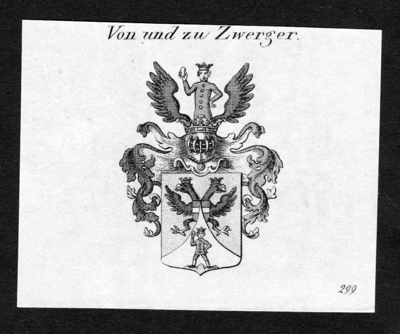 Von und zu Zwerger - Zwerger Wappen Adel coat of arms Kupferstich antique print heraldry Heraldik