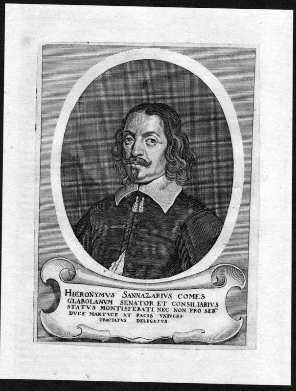 Hieronymus Sannazarius - Hieronymus Sannazarius Geronimo Sannazaro Portrait Kupferstich antique print