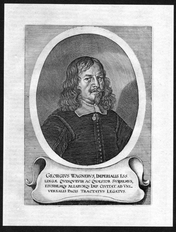 Georgius Wagnerus - Georg Friedrich Wagner Jurist lawyer Portrait Kupferstich antique print