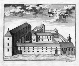 Convetus Flumiensis - Rijeka Croatia Kroatien Trsat Augustiner Kloster Kupferstich antique print