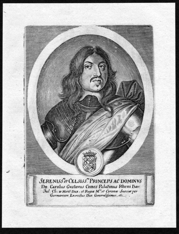 Carolus Gustavus comes Palatinus Rheni - Karl X Gustav kung Sverige Sweden Portrait Kupferstich antique print