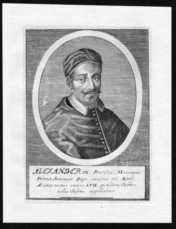 Alexander VII - Alexander VII Alessandro Papa Papst Portrait Kupferstich antique print