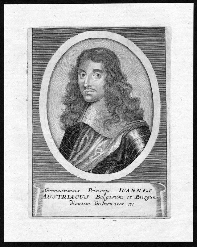 Ioannes Austriacus - Juan Jose de Austria Habsburg Portrait Kupferstich Espana antique print