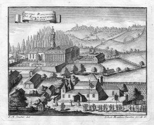 Conventus Ramsaviensis - Ramsau Berchtesgaden Augustiner Kloster Kupferstich antique print