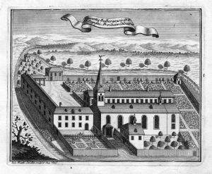 Conventus Bedburgensis - Bedburg Köln Augustiner Kloster Kupferstich antique print