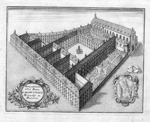 Monasterium .. Monachy in Bavaria - München Augustiner Kloster Bayern Kupferstich antique print