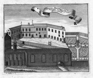 Conventus Hagenoensis - Hagenau Haguenau Augustiner Kloster Kupferstich gravure antique print