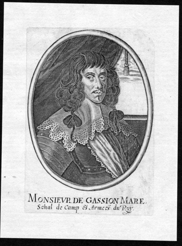 Monsieur Gassion Mareschal de Camp - Jean de Gassion gravure Portrait Kupferstich antique print