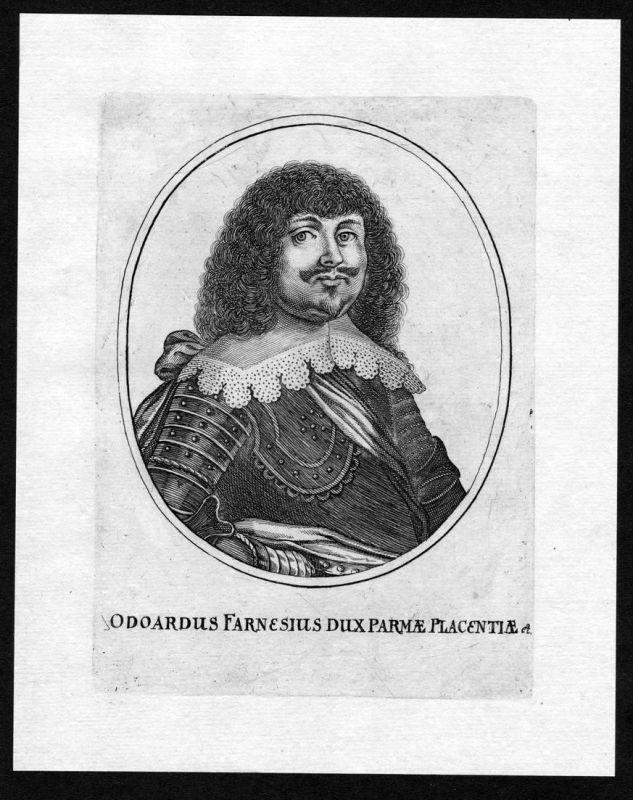 Odoardus Farnesius - Odoardo I. Farnese Portrait incisione Kupferstich antique print