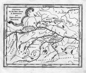 Conventus .. Provinciam Bavariae - Bayern Karte Augustiner Kloster Kupferstich antique print