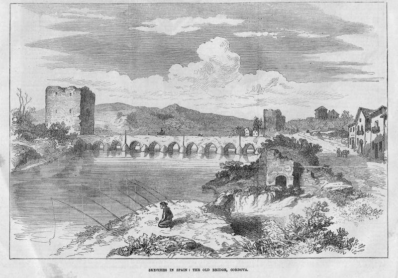 Sketches in Spain: the old Bridge, Cordova / Cordoba / Spanien / Spain / Espana