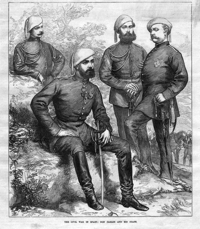 The civil war in Spain: Don Carlos and his Staff. / Bürgerkrieg / Spanien / Espana / Stab