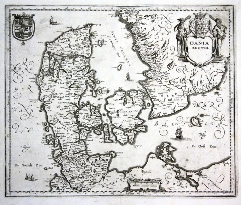 Dania Regnum - Denmark Danmark Dänemark Kobenhavn Karte map Plan Kupferstich antique print