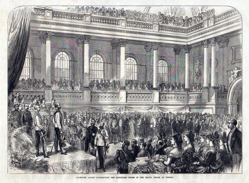 Archduke Albert distrubuting the exhibition prinzes in the riding school at Vienna. / Wien / Österreich / Erzh