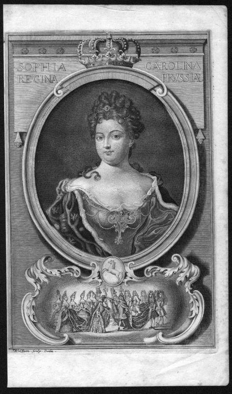 Sophia Carolina regina Prussiae - Sophie Charlotte von Hannover Preußen Portrait Kupferstich antique print