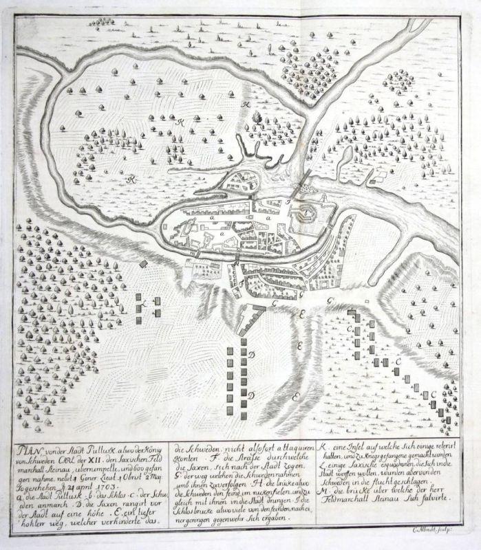Plan von der Stadt Pultusk - Pultusk Polska Poland Karte map Plan Kupferstich antique print