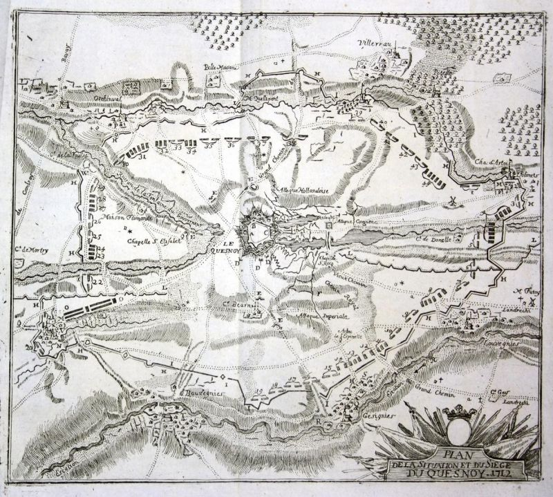 Plan de la Situation et du Siege du Quesnoy 1712 - Le Quesnoy siege carte gravure plan battle map Kupferstich