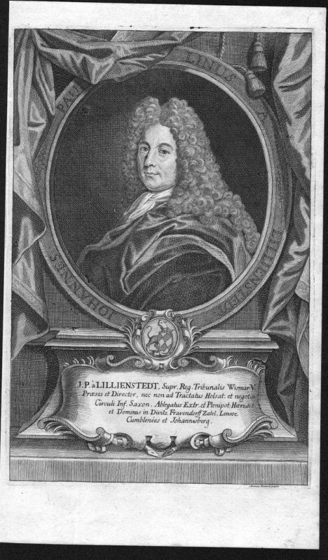 Johannes Paulinus a Lillienstedt - Johan Paulinus Lillienstedt Sverige Portrait Kupferstich antique print