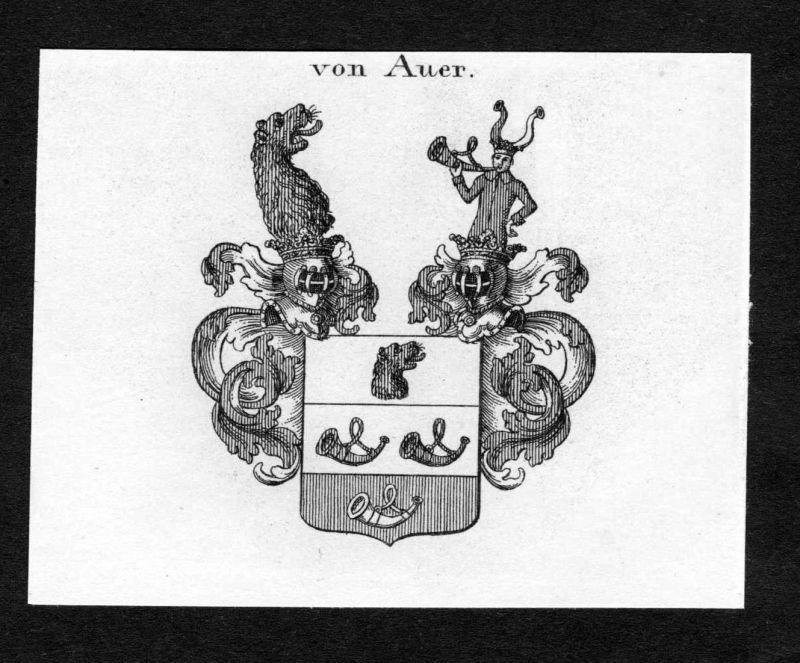 Von Auer - Auer Wappen Adel coat of arms Kupferstich antique print heraldry Heraldik