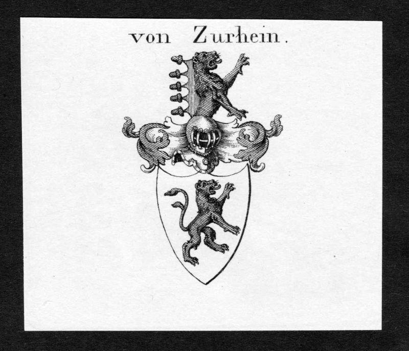 Von Zurhein - Zu Rhein Wappen Adel coat of arms Kupferstich antique print heraldry Heraldik