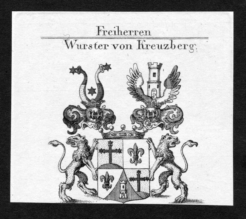 Wurster von Kreuzberg - Wurster von Kreuzberg Wappen Adel coat of arms Kupferstich antique print heraldry Hera