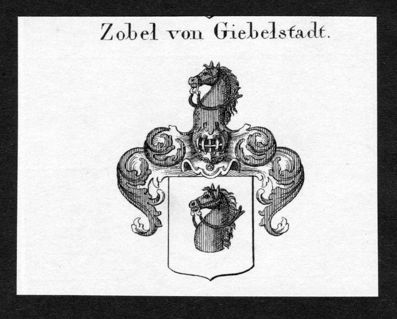 Zobel von Giebelstadt - Zobel von Giebelstadt Wappen Adel coat of arms Kupferstich antique print heraldry Hera