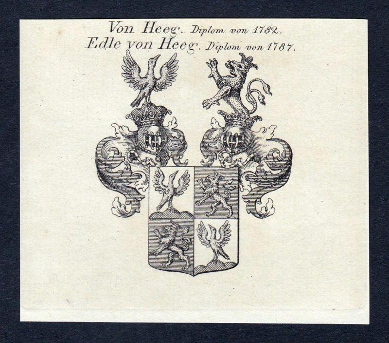 Von Heeg. Edle von Heeg - Heeg Niederlande Wappen Adel coat of arms heraldry Heraldik Kupferstich engraving