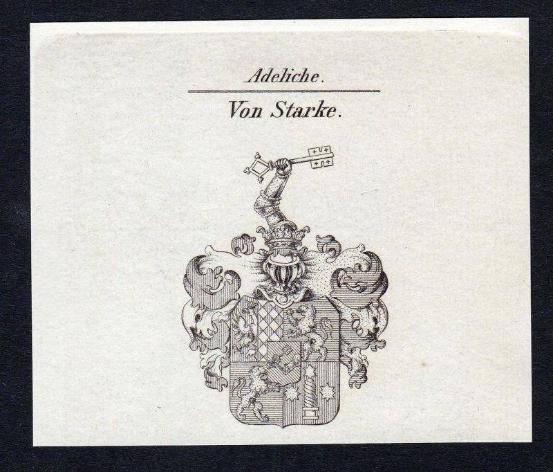 Von Starke - Starke Starcke Wappen Adel coat of arms Kupferstich antique print heraldry Heraldik