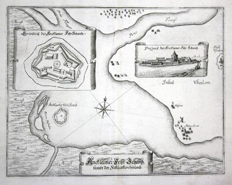 Ancklamer Fehr Schantz sambt der Situation herumb - Anklam Ansicht Plan Karte map view Kupferstich antique pri