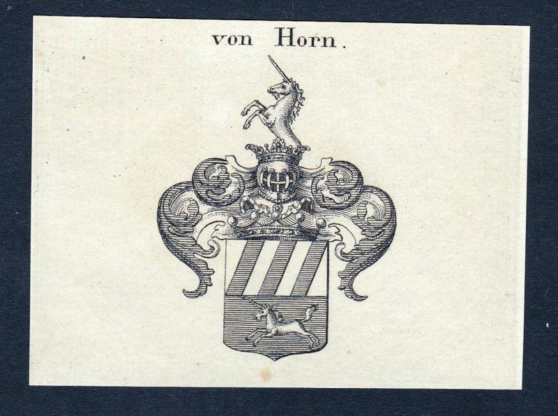 Von Horn - Horn Ranzin Wappen Adel coat of arms heraldry Heraldik Kupferstich engraving