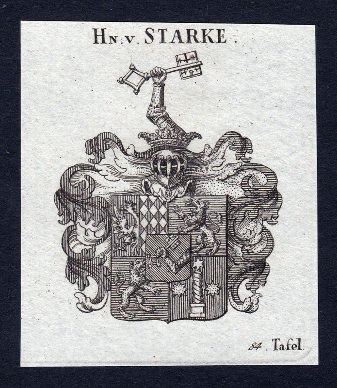Hn. v. Starke - Starke Stark Wappen Adel coat of arms heraldry Heraldik Kupferstich engraving