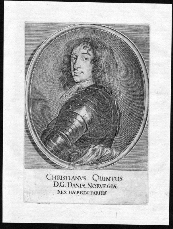 Christianus Quintus - Christian 5 V Danmark Norge Norway Denmark Portrait Kupferstich antique print