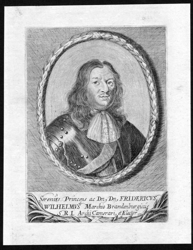 Fridericus Wilhelmus - Friedrich Wilhelm Brandenburg Portrait Kupferstich antique print