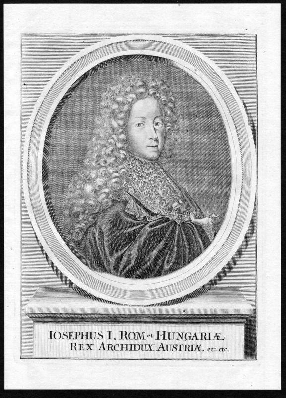 Iosephus I - Joseph I. HRR Hungary Österreich Portrait Kupferstich antique print