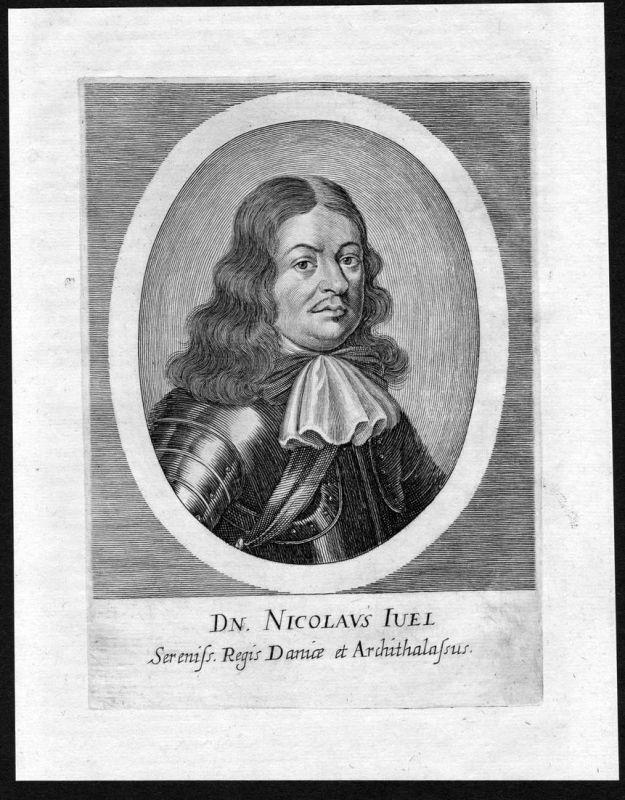 Nicolaus Iuel - Niels Juel Danmark Norge Admiral Portrait Kupferstich antique print