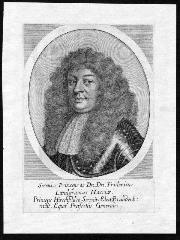 Fridericus Landgravius Hassiae - Friedrich von Hessen Brandenburg Portrait Kupferstich antique print