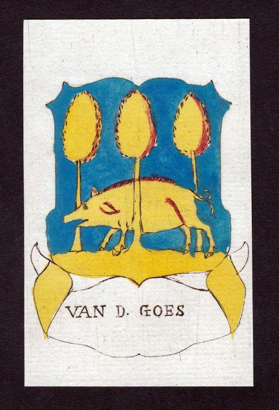 Van d. Goes - Goes Niederlande Wappen Adel coat of arms heraldry Heraldik Kupferstich engraving