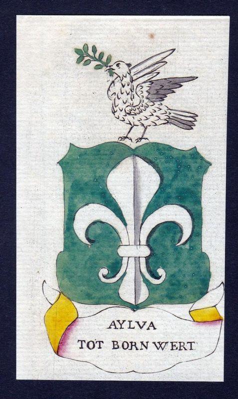 Aylva Tot Born Wert - Aylva Tot Born Wert Wappen Adel coat of arms heraldry Heraldik Kupferstich engraving